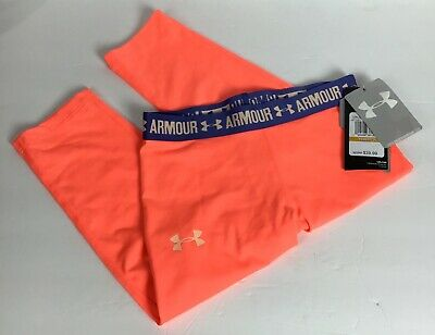 Under Armour Sz S Youth UA Girls HeatGear Cropped Fitted Legging1271021-404 Neon