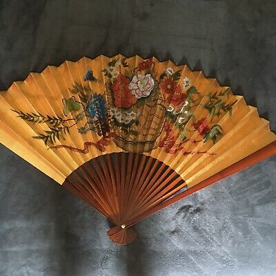 """Oriental Chinese Asian Wall Fan Painted 50"""" x 30"""" Mahogany with Box"""