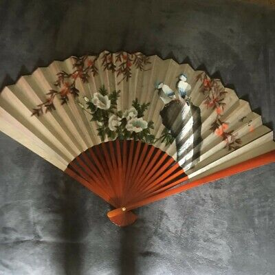 "Oriental Chinese Asian Wall Fan Painted 50"" x 30"" Mahogany with Box"