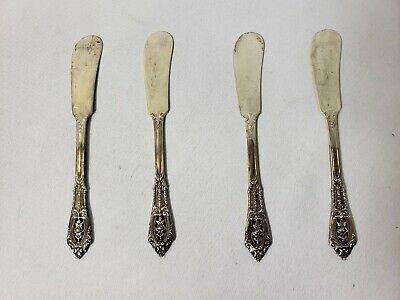 Vintage Wallace Sterling Silver Rose Point Butter Knives