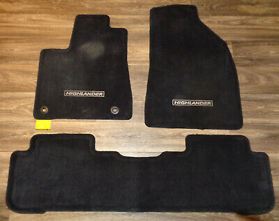 Black 14 15 16 17 18 Toyota Highlander 3 Piece Carpeted Floor Mats OEM