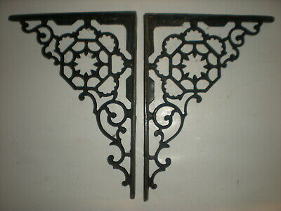 Vtg 1800's Large Pair of Antique Victorian Cast Iron Fancy Ornate Shelf Brackets