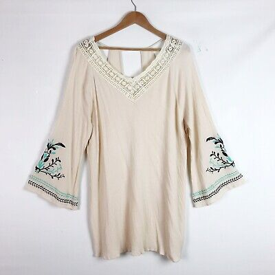 Umgee Womens Dress Size 2XL Embroidered Floral Boho Long Sleeve Bell Sleeve