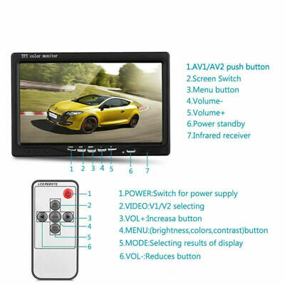 7inch TFT LCD Color 2 Video Input Car Rear View Headrest Monitor DVD VCR RCA HD