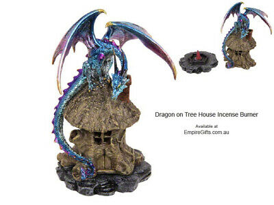 1 x Dragon Backflow Incense Burner Metallic Dragon on Tree House Blue