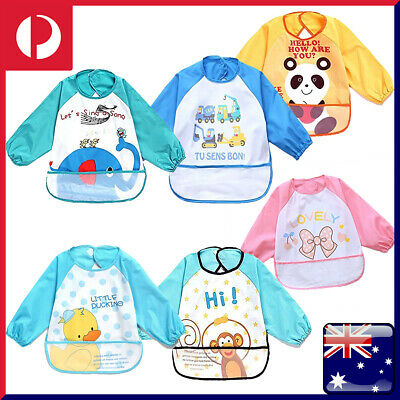 Children & Baby Kids Toddler Waterproof Long Sleeve Art Smock Feeding Bib Apron