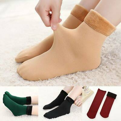 Women's Solid Winter Thick Warm Fleece Lined Thermal Stretchy Socks Elastic Fits