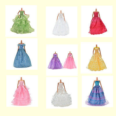 Fashion Party Dresses Clothes Shoes Gown For  Dolls Girls Random Pick MD FS^