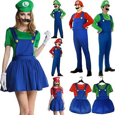 Christmas Women Kids Mario Luigi Costume Super Plumber Bros Fancy Dress Cosplay