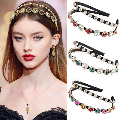 Baroque Ladies Double Layer Embellished Headband Hairband Crystal Crown Show