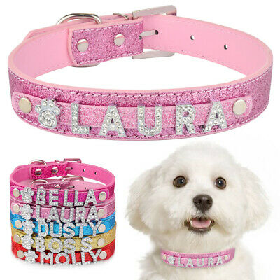 Leather Personalised Dog Collar Charms Boy Girl Puppy Pet Cat Name Rhinestone