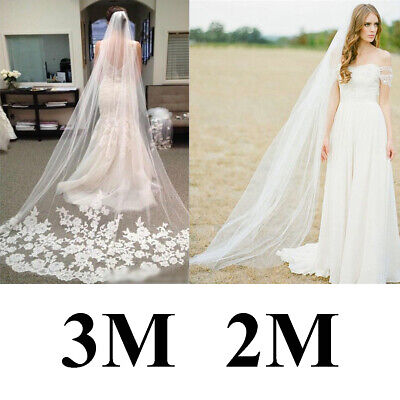 2M/3M Long Cathedral Bridal Wedding Veils with Comb White Ivory Lace Accessories