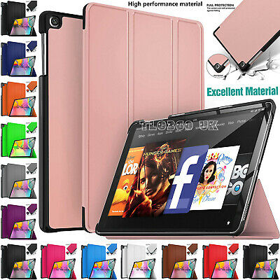 """Case Cover For Amazon Kindle Fire 7"""" Inch 9th Generation 2019 Leather Smart Flip"""