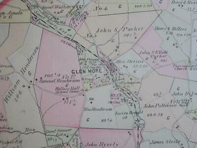 1883 Breou's Wallace Township,Glenmore Chester County Colored Map,Railroad,Ownrs