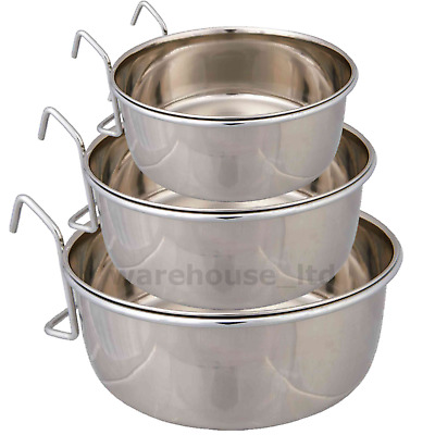 Bird Cage Clip On Bowl Water Food Container Hook Stainless, 7, 9, 12, 14cm