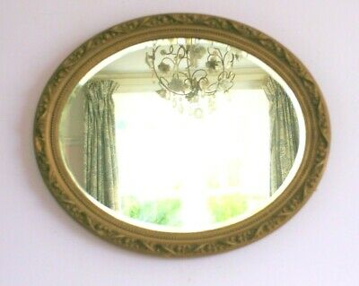 Antique Ornate Gilt Framed Bevel Edge Oval Wall Overmantle Mirror  #A