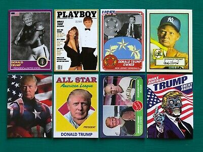 (8) DONALD TRUMP Playboy Putin MAGA Baseball Cards ++ BONUS Glock Gun Stickers!!
