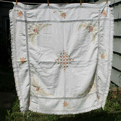 Vintage Hand Embroidered Pastel Green Orange Floral Square Cotton Tablecloth