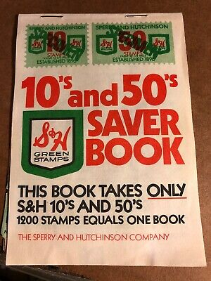 Vintage S & H Green Stamps 10's & 50's Saver Book, Filled With 1200 Stamp Value