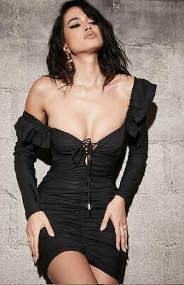Womens new in Black Black Frilled Lace Up Dress Similar to House of CB in Size S