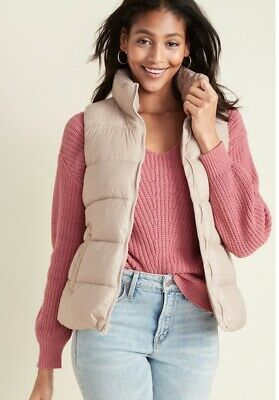 NWT Old Navy Women  Puff Vest Jacket - Large- Blush/light Pink With Zip Up