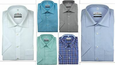 Mens Shirt Marvelis Regular Comfort Fit Non Iron Pure Cotton Short Sleeve