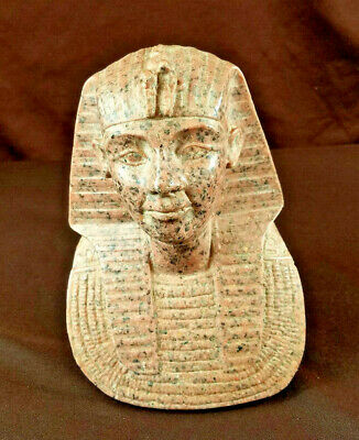 Red Granite Egyptian Pharoah Bust Statue Art