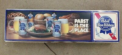 Vintage PABST BLUE RIBBON BEER Lighted Pabst Is The Place Lighted Sign