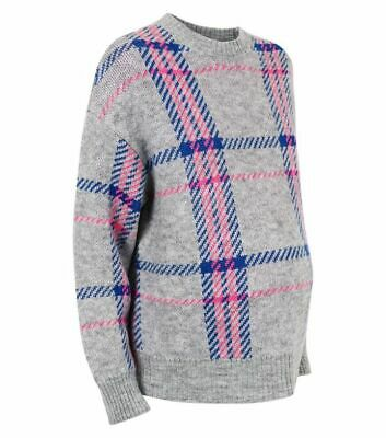 N£W L00K Maternity Grey & Pink Checked Jumper Top Size 8 10 12 14 16 18 Bnwt