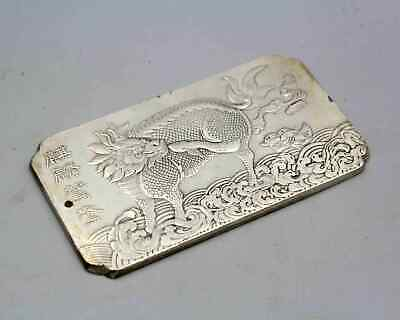 Collection China Miao Silver Carving Kirin Bring Good Luck Amulet Noble Pendant