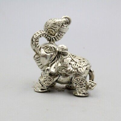 Collectable China Old Miao Silver Hand-Carved Lovely Elephant Auspicious Pendant