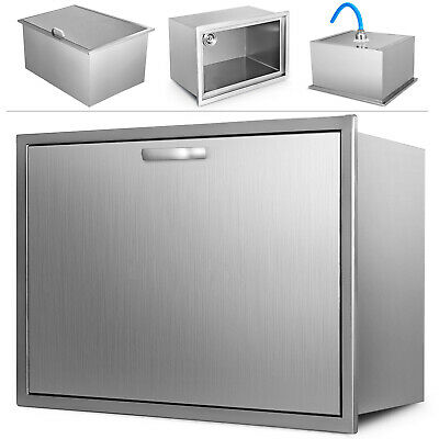 56X43X31cm Drop In Ice Chest Bin Cooler Insulated Wall Thick Lid Stainless Steel