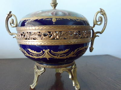 19TH Sevres Bonbonnière antique signed French bronze porcelain decorated Urn