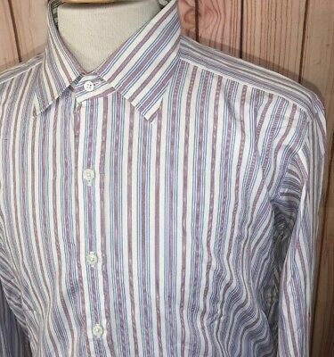 Turnbull /& Asser Men/'s Lilac//Blue Pinstripe Cotton Gown GO215505 $495 NEW