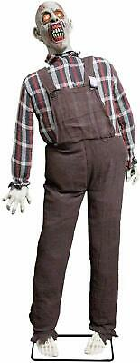 Halloween Haunters Life Size Stand Up Speaking Farmer Zombie Animated Rocking Mo