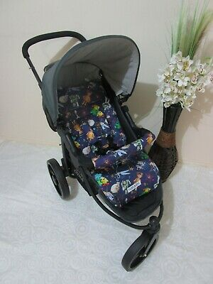 Pram liner set,universal,100% cotton fabric-Toy story toys and stars-Funky babyz