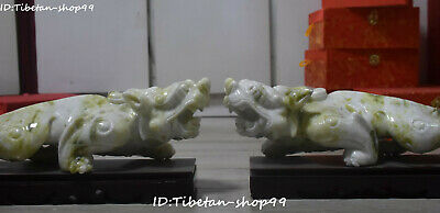 "14""China Natural Green Jade Dragon Pixiu Brave troops Beast Pi Xiu Statue Pair"