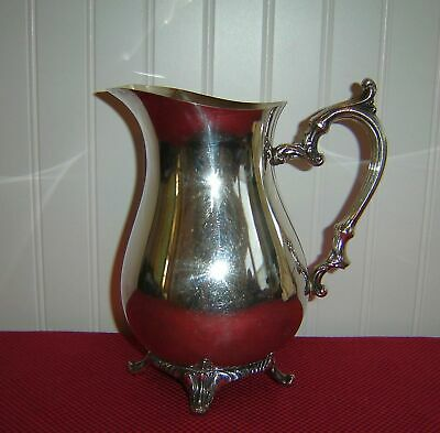 """WM Rogers Vintage Silverplate Footed Water Pitcher 9"""" with Ice Strainer  #817"""