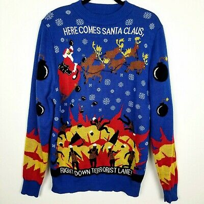 LAPG Ugly Christmas Sweater Size L Blue Santa Funny Crew Neck Long Sleeve