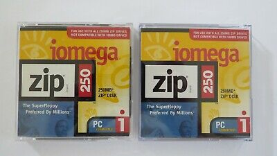 2 x 250MB Iomega Zip Disks With Case