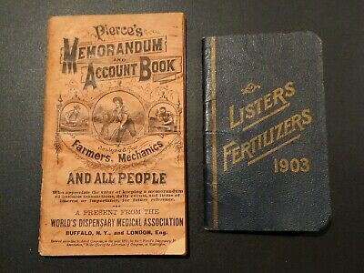 1892 Antique Pierce's Memorandum Account Book & 1903 Listers Fertilizers Info