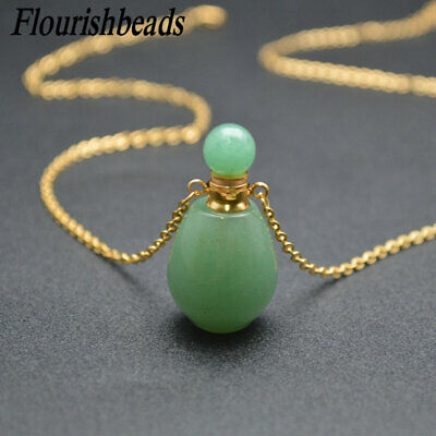 Natural Colorful Gemstone Mini Perfume Bottle Pendant Linked Chain Necklace