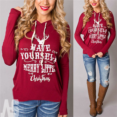 Women Christmas Xmas Hoodie Sweatshirt Hooded Jumper Sweater Lady Pullover Tops
