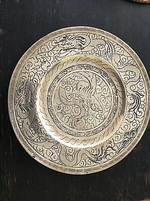 "12"" Carved Antique Chinese Brass Charger With Serpents. Signed"