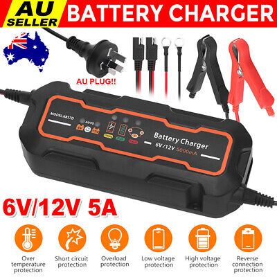 AU Battery Charger 5A 12V/6V Motorbike Car Boat Deep Cycle AGM Automatic SLA