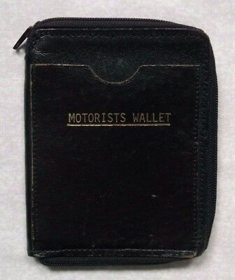 Wallet Vintage Leather MOTORISTS BI-FOLD 1960s 1970s NOTES ID CARDS ZIPPED
