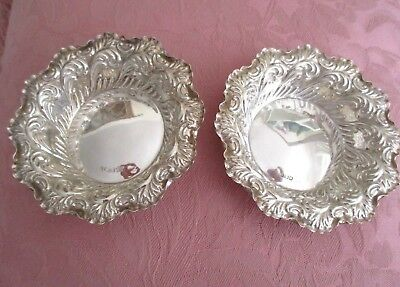 Two Antique Sterling Silver Chased Bon Bon Dishes Hallmarked Sheffield FREEPOST