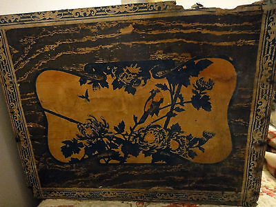 Antique tea crate Box ROSEBUD Japan old wallpaper advertising primitive