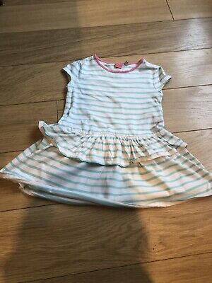Joules Girls Dress Age 4 Years, 104Cm, 100% Cotton, White With Green Stripe  Kg