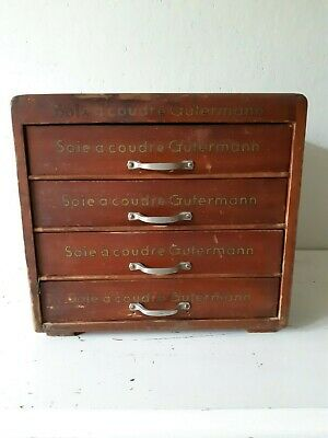 Antique ,French silk thread sewing cabinet ,GUTERMANN, 4-drawer